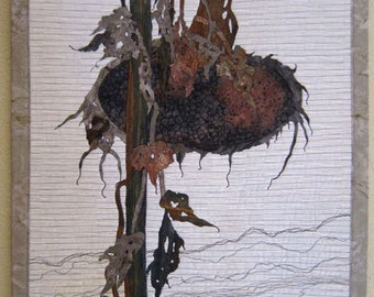 WINTER'S SUNFLOWER,  art quilt, art, textile art, wallhanging, textile, bird, sunflower, threadwork, seeds, scene, farmland