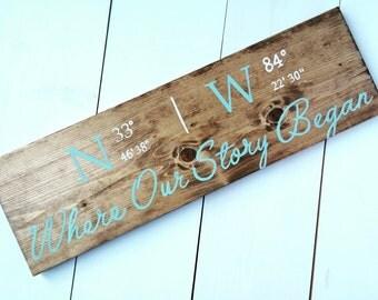 SEMI CUSTOM-Hand painted custom coordinate sign   wedding gift   anniversary gift   coordinates   custom painted wood sign
