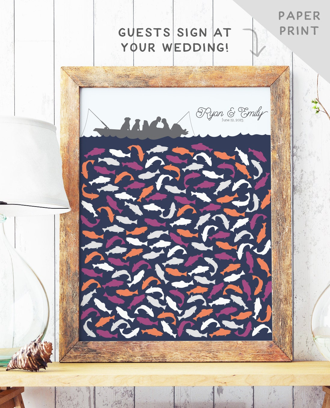 Fishing wedding guest book alternative with fish wedding for Guests and fish