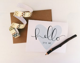 Hello It's Me Cards with Kraft Envelopes - Valentine's Day - Blank Inside - Pack of 10
