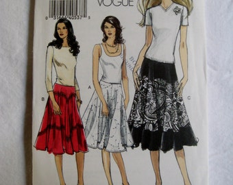 Vogue Sewing Pattern V8197 Skirt Full Low Rise Contrast Option Size 6 8 10 12 UNCUT
