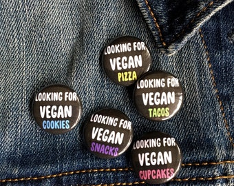 Vegan Snacks Pin Pack /  1 inch buttons - all 5 buttons