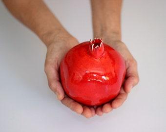 Large Red Ceramic Pomegranate Art / Judaica Gift Rosh Ha Shana / Holy Land / Jewish Wedding Gift / Symbol Abundance & Fertility/Housewarming