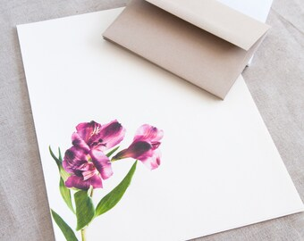 Letter Writing Paper - Alstroemeria Purple Flowers - Letter Stationery Set - Personalized Gift for her