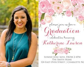 Pink Floral Graduation Party Invitation Floral Graduation.  Graduation Photo Printable Invitation Watercolor, sublime, photo