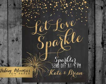 Glitter Wedding sparkler send off sign, printable chalkboard, wedding sign, wedding decor print art DIY, wedding decoration