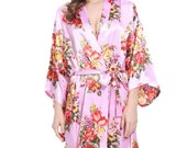 F - SALE!  Ships IMMEDIATELY, Absolutely Gorgeous Pink FLORAL Satin Robe, One Size Fits 0-14, Getting Ready Robe. Bridesmaid Robe