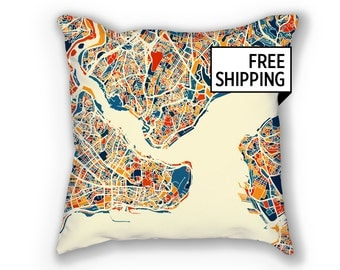 Istanbul Map Pillow - Turkey Map Pillow 18x18