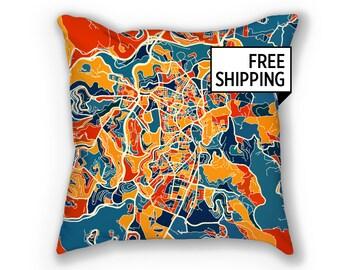 Jerusalem Map Pillow - Israel Map Pillow 18x18