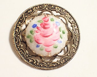 Guilloche Enamel Cabbage Rose Gold Tone Filigree Brooch
