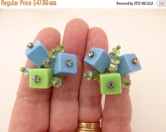 Vendome Blue and Green Acrylic Rhinestone Topped Cube Cluster Comfort Clip Earrings
