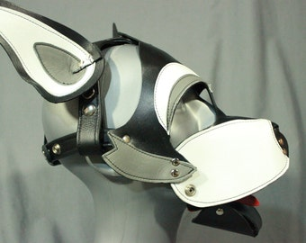 Husky style pup mask in gray and white with removable muzzle