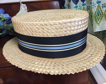 Men's Vintage Straw Boater Hat by Dobbs