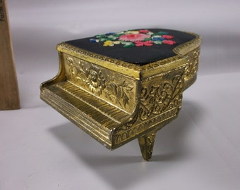 Piano Trinket Box Needle point flowers made in Japan Make A great Mother's Day Gift.epsteam