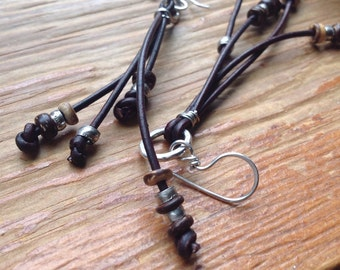 Silver and leather knotted cord earrings