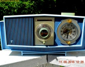 BLUE on Blue Mid Century Retro 1963 Motorola Model C19B60 Tube AM Clock Radio Totally Restored!