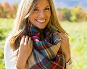 Blanket Scarf Plaid Red Tartan Extra Large Cotton Square Fabric Wrap Shawl Zara Inspired // Ready to Ship!