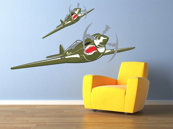 Vintage World War 2 Airplane Wall Decal Vinyl By Stickerhog