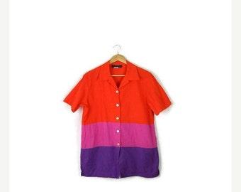 SUMMER SALE Vintage Oversized Orange/Pink/Purple Tricolor Stripe Short sleeve Blouse from 80's*