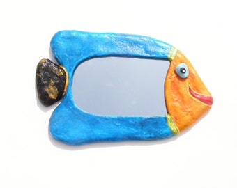 DECORATIVE WALL MIRROR,Turquoise Blue and Orange Fish Mirror,Home or Office Decoration,hippie furniture