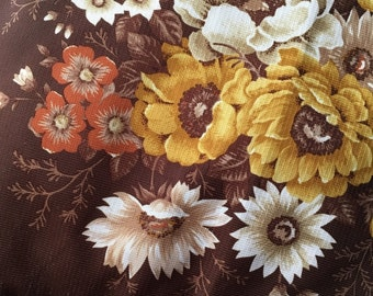 Brown Floral Retro Cushion and Cover