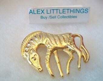 Gold Tone Zebra Brooch Pin