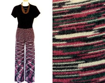 "90s MISSONI Pants Vtg Red White Black Wool Knit ""Space-Dyed"" Fabric M Free Domestic and Discounted International Shipping"