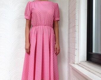 Vintage Pink Polka Dot Dress