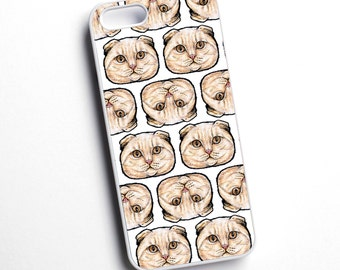 Scottish Fold, cat breed, illustrated phone case - various models available - for iPhone, Samsung, Sony, HTC