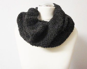 Loop Tube Infinity Scarf grey handknitted