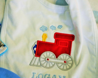 Baby Boys bib, white with train applique,   Name included.  Cute baby shower gift.  Train color can be personalized.