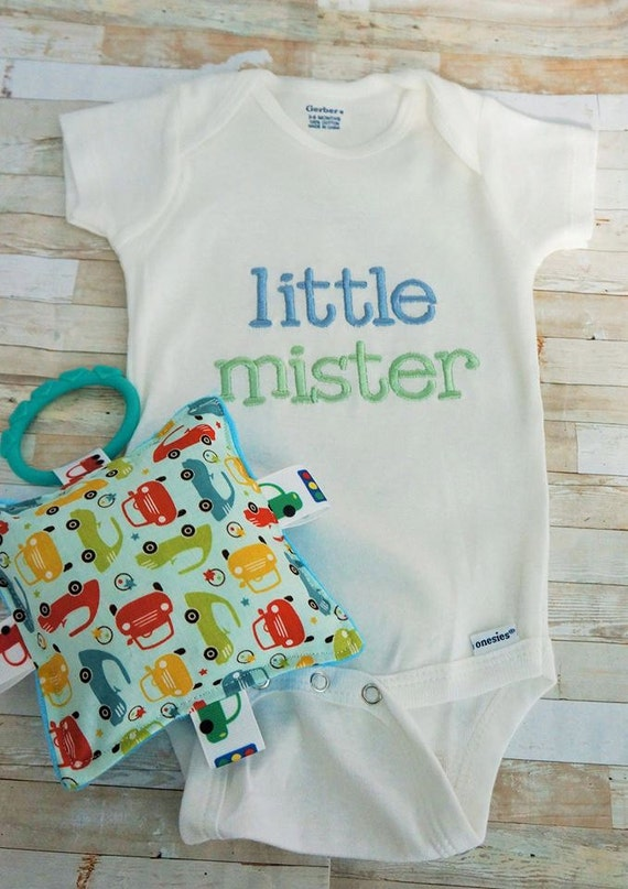 "Baby boy clothing, little mister embroidered in green and blue , with matching 5""crinkle toy. Fun for your little guy or to give as a gift."