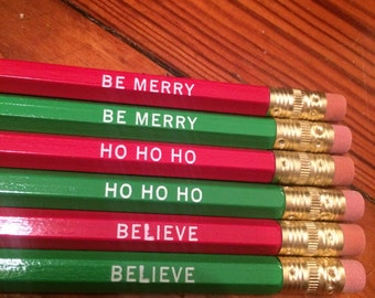 Christmas Imprinted Pencil Set of Six