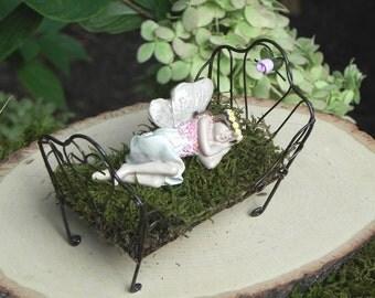 Fairy Garden Sleeping Fairy, Bed, figurine for miniature garden, fairy  accessories, accessory