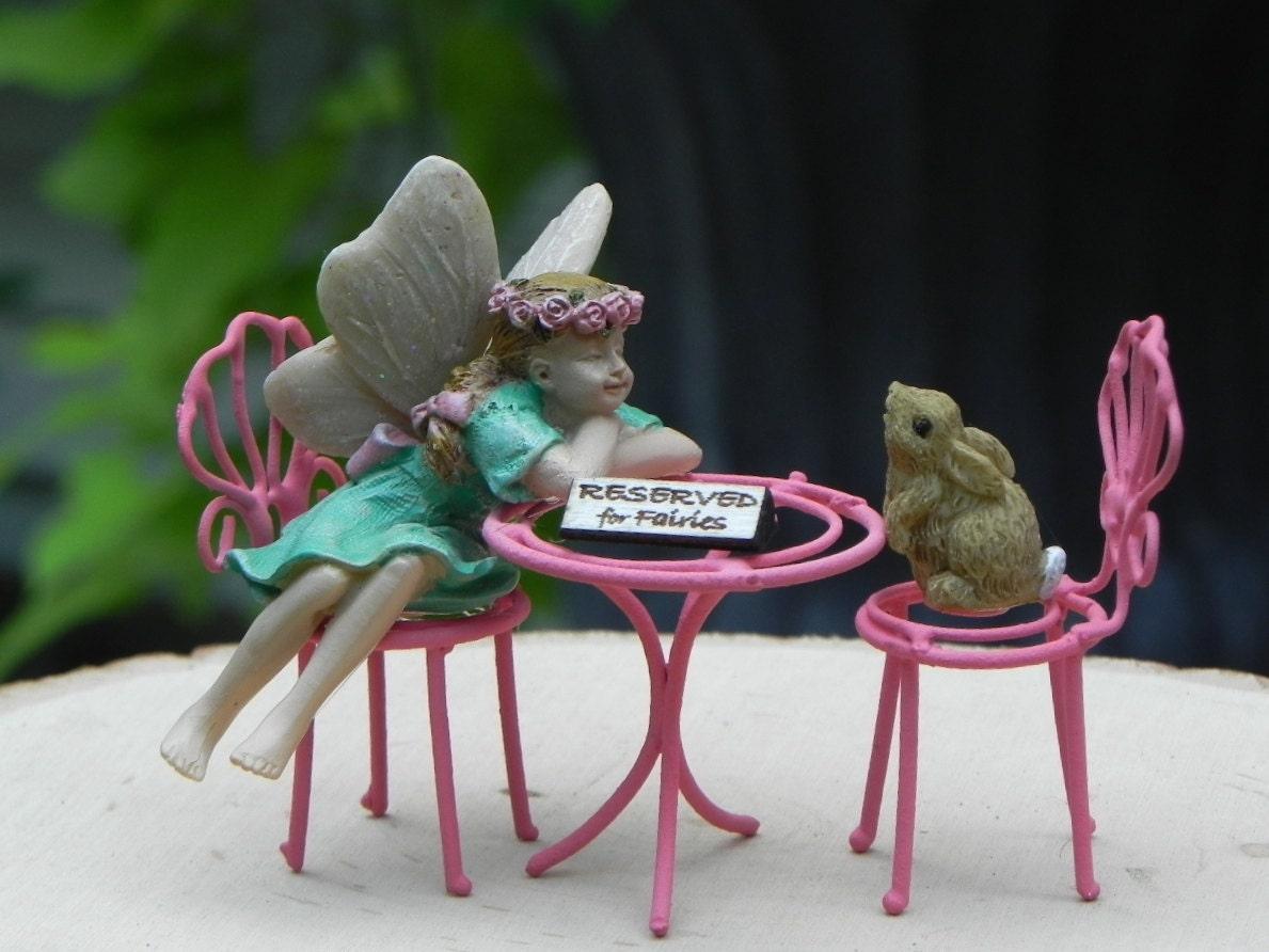 Miniature Fairy Garden Bistro Table 2 Chairs Fairy Figurine