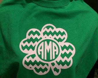 Chevron Monogrammed Shamrock Shirt
