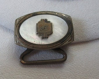 Vintage, 1930's brass/mother of pearl buckle - Estate find! - possible  Steampunk project