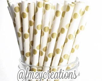PAPER STRAWS, Gold Paper Straws, 50 Metallic Gold Polka dot Straws,Gold Weddings,50th Birthday Party,50th Wedding Anniversary,Diy Flags