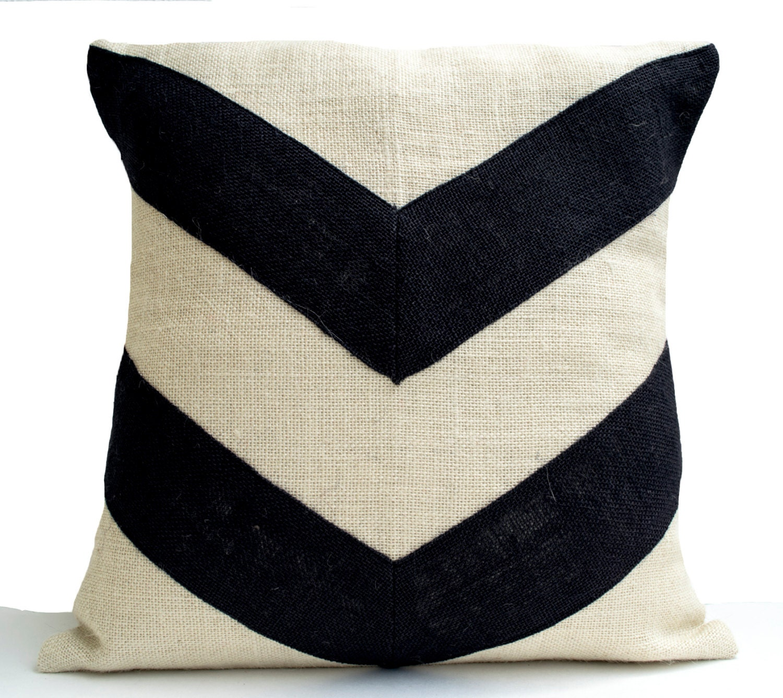 Burlap Pillow Cream Black Pillow Cover Applique Pillow Bold