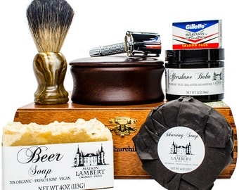 Ultimate Shaving Kit - Shaving Set - badger shaving brush - mens christmas gifts - wood shaving bowl - mens gifts - gifts for dad - gifts