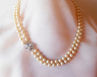 Pearl Necklace, Vintage Pearls, Vintage Necklace, Rhinestone Clasp, Double Strand,Hand Knotted, Pearl Beads,  Costume Jewelry