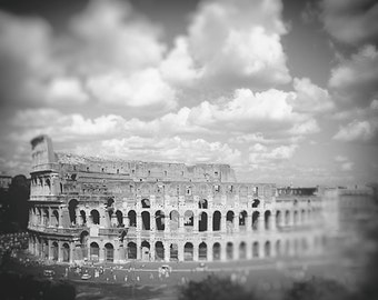 "Black and White Coliseum Wall Art - colosseum clouds 8x10 Rome photography 16x20 architecture wall art 11x14 travel print 5x7 - ""Monument"""