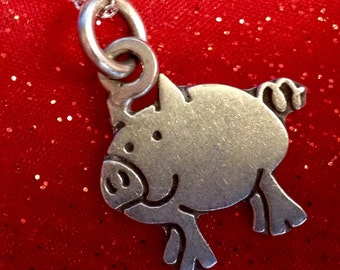"Sterling Silver Little Piggie Pendant on 18"" Sterling Silver Chain (st - 1583)"
