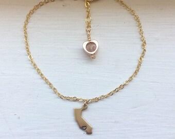 California bracelet, state jewelry, usa, brass metal stamped bracelet, bridesmaid gift