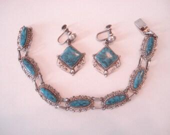 Vintage MEXICO PLATA Bracelet Earring Demi Parure Set