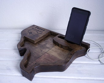 Texas forever. Stand Wooden iPhone Docking Station  iPhone holder. Country style.TEXAS FOREVER.