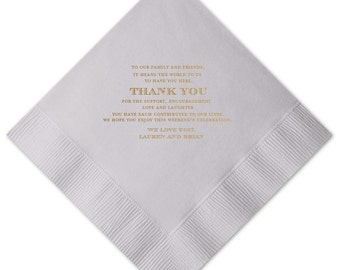 "Personalized Thank You Gold Foil Dinner Napkins {dove grey, white or ivory} | Wedding Dinner Napkins 8""x8"""