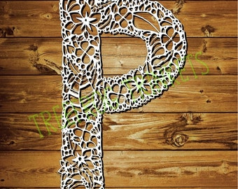 Papercut Template - Letter P for COMMERCIAL USE