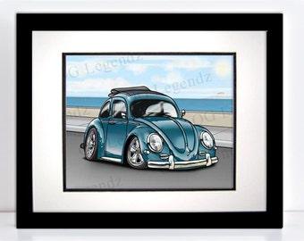VW Ragtop Bug (Beetle), Art Print - An Original EXCLUSIVE Volkswagen Design by Og Legendz... Slammed Type 1 Volkswagen Bug