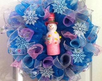 Snowman Wreath/ Winter Wreath/ Snowman Deco Mesh Wreath/ Deco Mesh Snowman/ Snowman Mesh Wreath/ Winter Deco Mesh Wreath